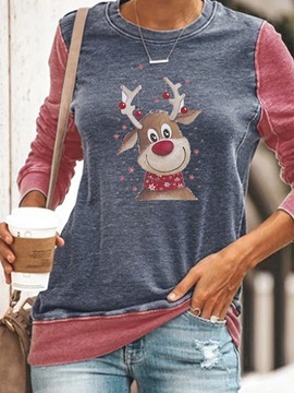 Christmas Mid-Length Letter Round Neck Fall Western Women's T-Shirt
