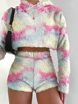 Sexy Hoodie Color Block Pullover Straight Women's Two Piece Sets
