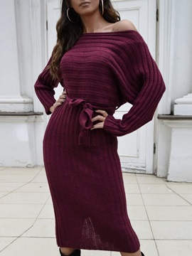 Mid-Calf Off Shoulder Lace-Up Bodycon Casual Women's Dress