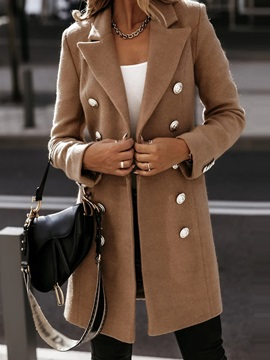 Patchwork Double-Breasted Regular Mid-Length Fall Women's Overcoat