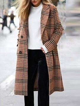 Straight Regular Double-Breasted Notched Lapel Winter Women's Overcoat