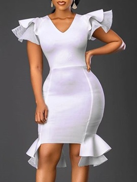 V-Neck Short Sleeve Mid-Calf Ruffle Sleeve Office Lady Women's Dress
