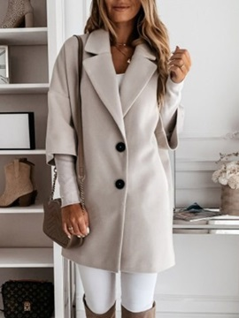 Straight Patchwork Single-Breasted Fall Notched Lapel Women's Overcoat