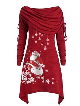 Christmas Heap Collar Above Knee Long Sleeve Date Night Going Out Pullover Women's Dress