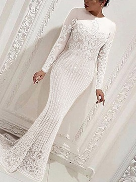 Round Neck Long Sleeve Floor-Length Dress Fall Women's Dress