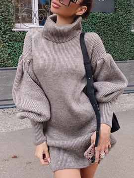 Long Sleeve Above Knee Turtleneck Fall Date Night Going Out Women's Dress