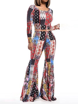 Patchwork Western T-Shirt Pullover Bellbottoms Women's Two Piece Sets