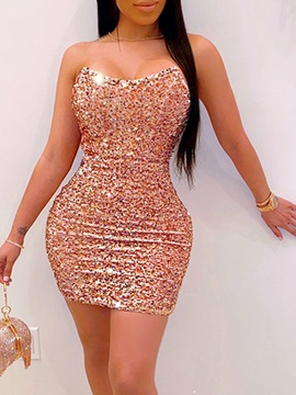 Sleeveless Above Knee Sequins Mid Waist Party Cocktail Women's Dress