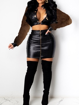 Sexy Zipper Skirt Single-Breasted Bodycon Women's Two Piece Sets