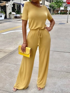 Casual Full Length Plain Loose Straight Women's Jumpsuit