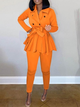 Casual Pants Plain Notched Lapel Double-Breasted Women's Two Piece Sets