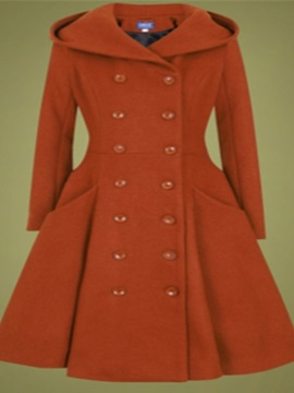 Button A Line Double-Breasted Winter Long Women's Overcoat