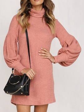 Long Sleeve Above Knee Turtleneck Pullover Fashion Women's Dress