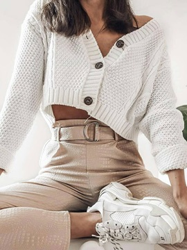 Regular Button Single-Breasted V-Neck Fall Women's Sweater