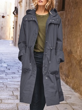 Patchwork Zipper Mid-Length Long Sleeve Casual Women's Trench Coat