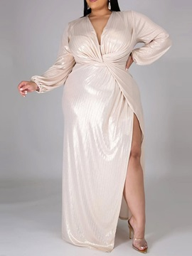 Plus Size V-Neck Floor-Length Long Sleeve Plain Summer Women's Dress