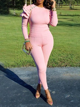 Plain Sweater Sexy Pullover Round Neck Women's Two Piece Sets