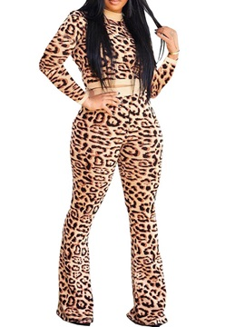Leopard T-Shirt Casual Pullover Stand Collar Women's Two Piece Sets