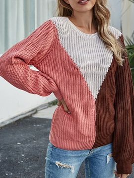 Patchwork Thin Regular Standard Long Sleeve Women's Sweater