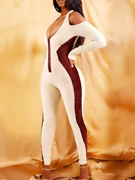 Full Length Sexy Color Block Mid Waist Skinny Women's Jumpsuit