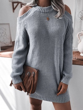 Hollow Thin Mid-Length Winter Women's Sweater
