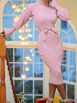 Mid-Calf Lace-Up Turtleneck Fall Pullover Women's Dress