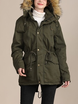 Slim Zipper Zipper Mid-Length Women's Cotton Padded Jacket