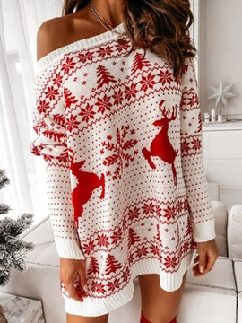 Christmas Patchwork Long Sleeve Above Knee Regular Sexy Women's Dress