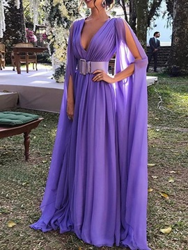 V-Neck Long Sleeve Floor-Length A-Line Plain Women's Dress