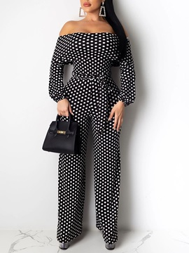 Full Length Lace-Up Polka Dots Loose Wide Legs Women's Jumpsuit