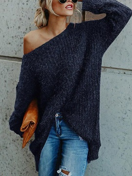 Patchwork Regular Thin Standard Batwing Women's Sweater