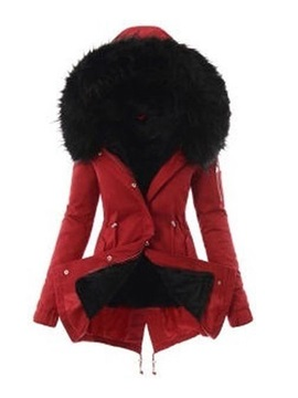 Patchwork Slim Zipper Mid-Length Women's Cotton Padded Jacket