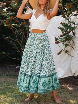 Expansion Ankle-Length Floral Travel Look High Waist Women's Skirt