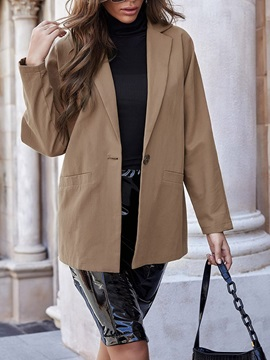 Notched Lapel One Button Long Sleeve Fall Mid-Length Women's Casual Blazer
