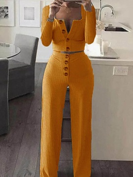 Plain Sweater Casual Square Neck Single-Breasted Women's Two Piece Sets