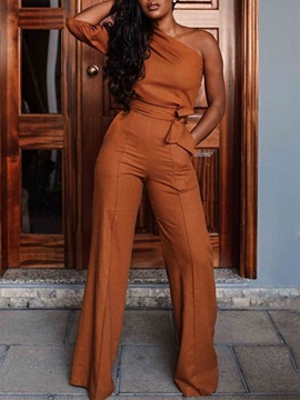 Sexy Lace-Up Full Length Slim Straight Women's Jumpsuit