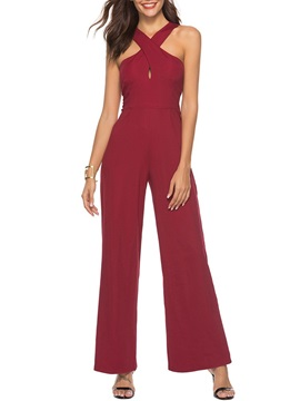 Hollow Full Length Sexy Wide Legs Loose Women's Jumpsuit