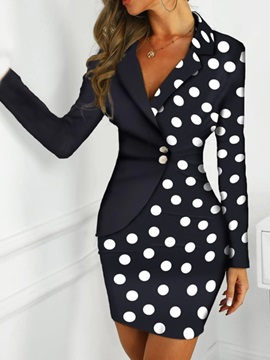 Long Sleeve Patchwork Above Knee Polka Dots Bodycon Women's Dress