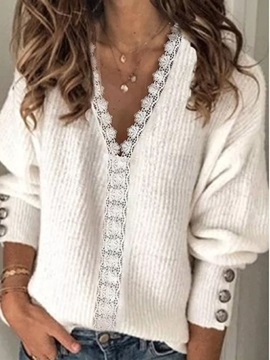 Button Thin V-Neck Mid-Length Women's Sweater