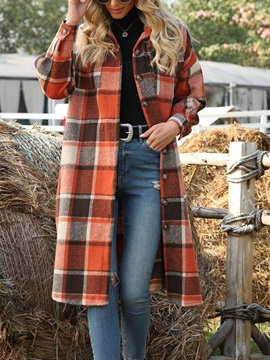 Single-Breasted Patchwork Lapel Straight Fall Women's Trench Coat