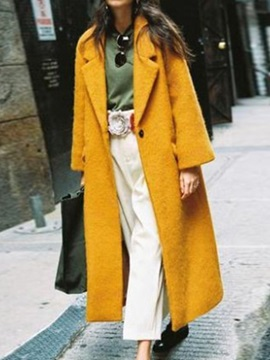 One Button Patchwork Loose Long Notched Lapel Women's Overcoat