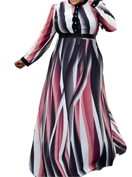 Plus Size Floor-Length Long Sleeve Print Regular Pullover Women's Dress