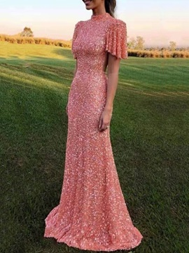Sequins Floor-Length Stand Collar Fall A-Line Women's Dress