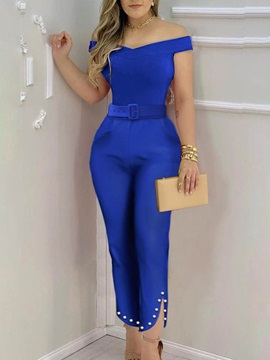 Party Cocktail Ankle Length Bead Slim Harem Pants Women's Jumpsuit