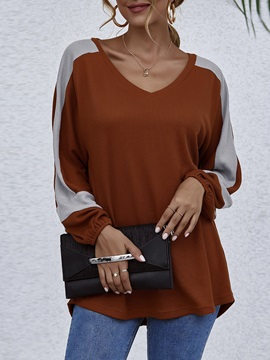 V-Neck Long Sleeve Color Block Fall Western Women's T-Shirt