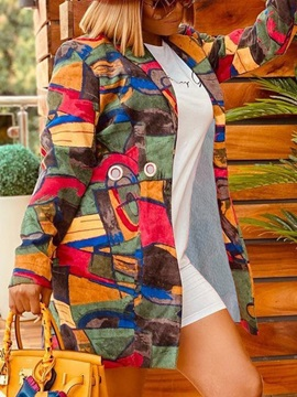 Notched Lapel Print Long Western Winter Women's Trench Coat