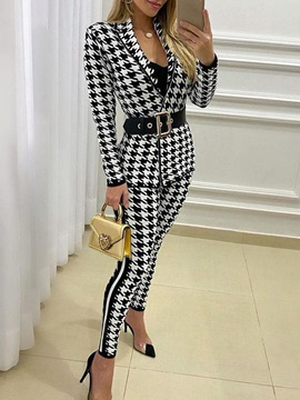 Houndstooth Ankle Length Pants Casual Notched Lapel Pencil Pants Women's Two Piece Sets