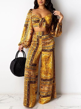 Sexy Print Pants Wide Legs Pullover Women's Two Piece Sets
