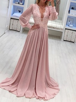 See-Through Floor-Length Long Sleeve A-Line Dress Women's Dress