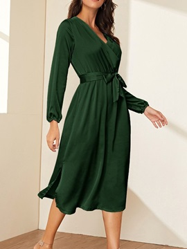 Lace-Up Mid-Calf V-Neck Pullover Fall Women's Dress